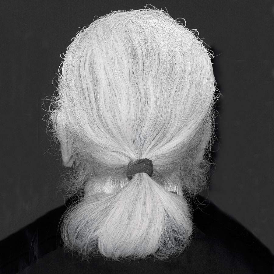 Lagerfeld's signature pony tail.