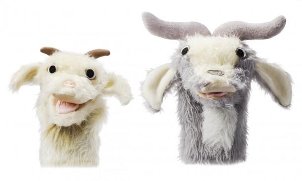 Billy goat puppets $30 to $40 by Ellen Skura, El Puppet
