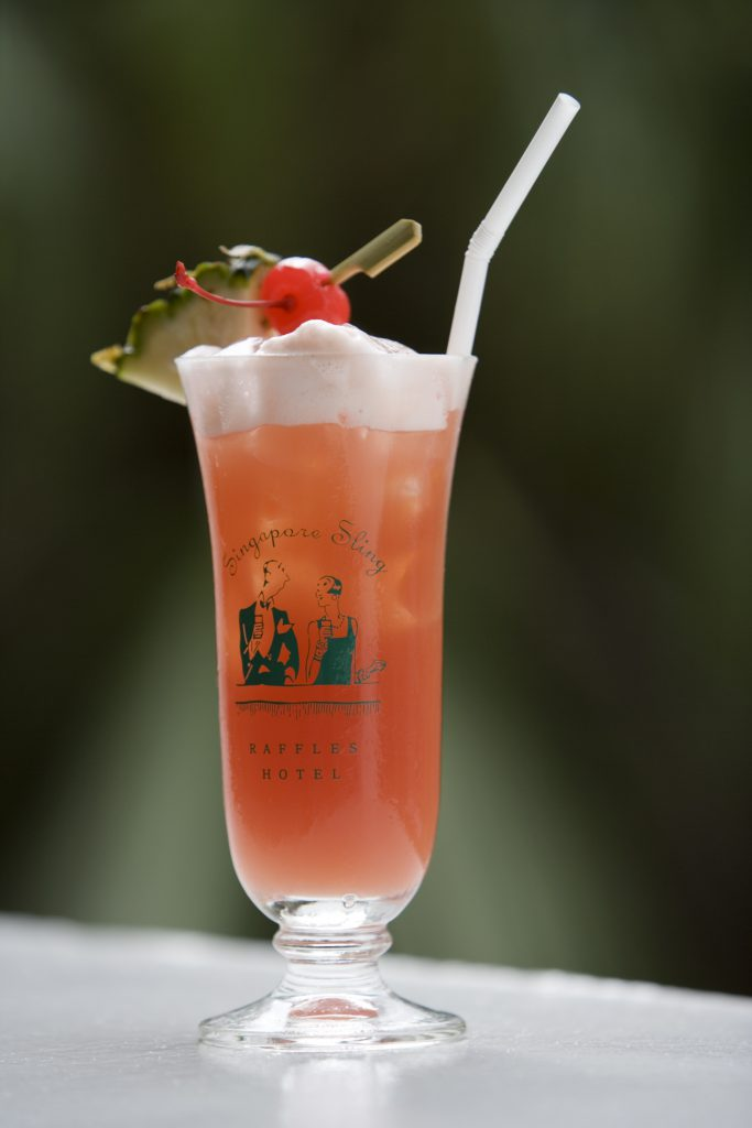 Famous Singapore Sling cocktail at The Long Bar of Raffles Hotel.
