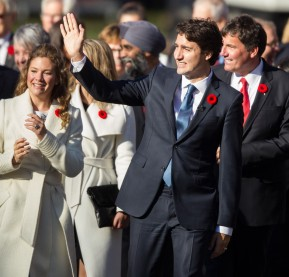 Prime Minister designate Justin Trudeau(C) leads his cabinet appointees up the drive at Rideau Hall as the new Canadian government prepares to be sworn in in Ottawa, Ontario, November 4, 2015. Justin Trudeau was sworn in as Canada's 23rd prime minister in front of a huge crowd sporting Liberal red, 50 years after his father took the job. AFP PHOTO/ GEOFF ROBINS        (Photo credit should read GEOFF ROBINS/AFP/Getty Images)