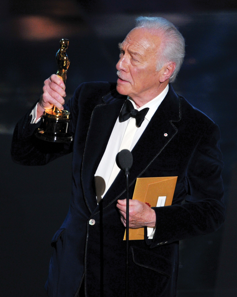 HOLLYWOOD, CA - FEBRUARY 26:  Actor Christopher Plummer accepts the Best Supporting Actor Award for 'Beginners' onstage during the 84th Annual Academy Awards held at the Hollywood & Highland Center on February 26, 2012 in Hollywood, California.  (Photo by Kevin Winter/Getty Images)