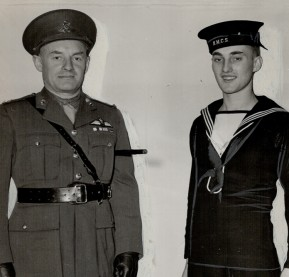 CANADA - DECEMBER 23:  Stafford Smythe in the Navy. The fine looking young fellow on the RIGHT of the picture is Ordinary Seaman Stafford Smythe; son of Major Conn Smythe; 30th Battery; LEFT. The lad is a chip off the old block. Craving action he signed on the dotted line and says; There's nothing like the life of a sailor.   (Photo by Toronto Star Archives/Toronto Star via Getty Images)