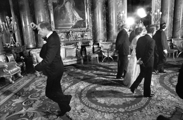 Pierre Trudeau pirouettes behind Queen Elizabeth II during a May 7, 1977, picture session at Buckingham Palace in London, England. Thirty-eight years after his father caused an international sensation by with a pirouette behind an oblivious Queen, Justin Trudeau is going to meet the monarch.THE CANADIAN PRESS/Doug Ball