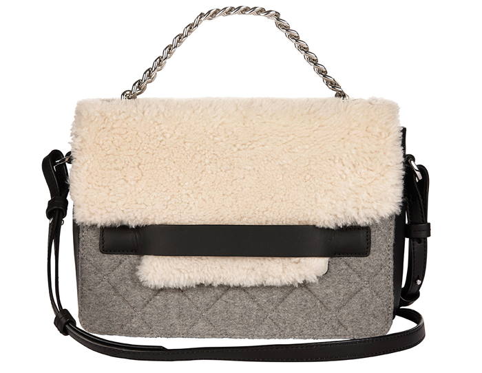 HRBR $310 Shearling Flap Chain Shoulder Bag