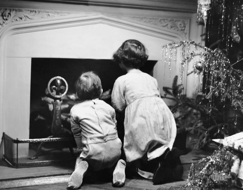 Two children waiting for Santa Claus