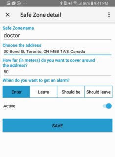 A screen shot of the Nurture Watch Safe Zone setting