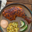 Peruvian Chicken with Mashed Plantains and Chile Sauce