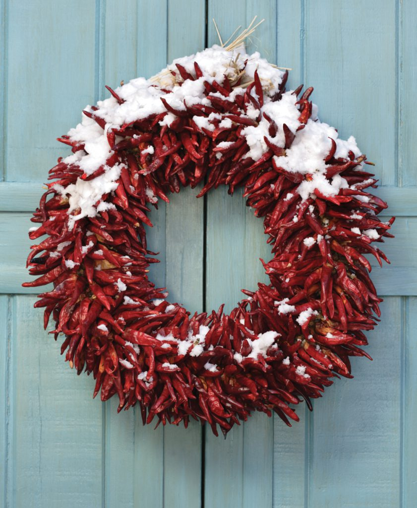 Red Chili Wreath With Snow