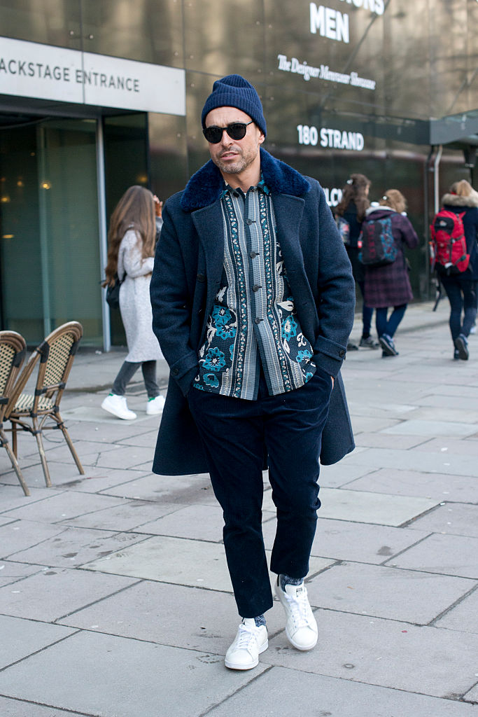 LONDON, ENGLAND - JANUARY 10: WWD Fashion Editor and M fashion director Alex Badia wears all Burberry with Adidas shoes and Ahlem sunglasses on day 3 of London Collections: Men on Januay 10, 2016 in London, England. (Photo by Kirstin Sinclair/Getty Images)*** Local Caption *** Alex Badia