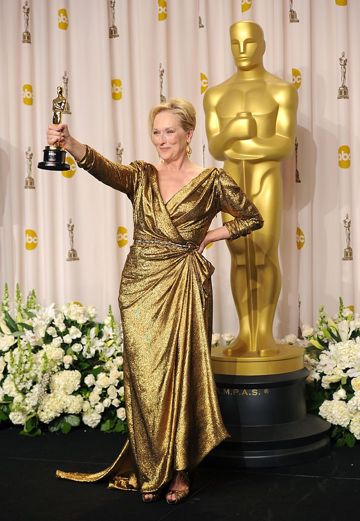 HOLLYWOOD, CA - FEBRUARY 26: Actress Meryl Streep, winner of the Best Actress Award for 'The Iron Lady,' poses in the press room at the 84th Annual Academy Awards held at the Hollywood & Highland Center on February 26, 2012 in Hollywood, California. (Photo by Jason Merritt/Getty Images)