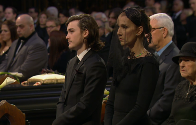 Dion with her eldest son Rene-Charles, who spoke during the service