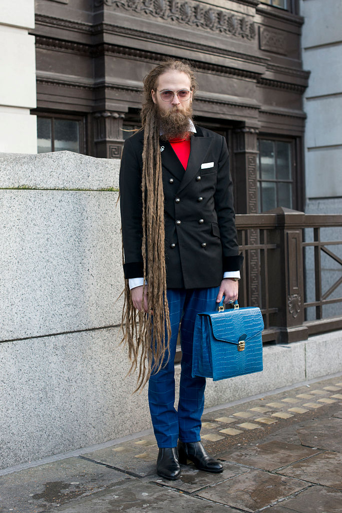 LONDON, ENGLAND - JANUARY 8: Fashion and Art PR Save Ionut Daniel wears all Florin Dobre and Oana Vasiloiu bag on day 1 of London Collections: Men on Januay 8, 2016 in London, England. (Photo by Kirstin Sinclair/Getty Images)*** Local Caption *** Ionut Daniel