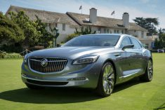 The Buick Avenir Concept flagship sedan makes its appearance on the Concept Lawn at the Pebble Beach Concours d'Elegance Saturday, August 15, 2015 in Pebble Beach, California. (Photo by Dan MacMedan for Buick)