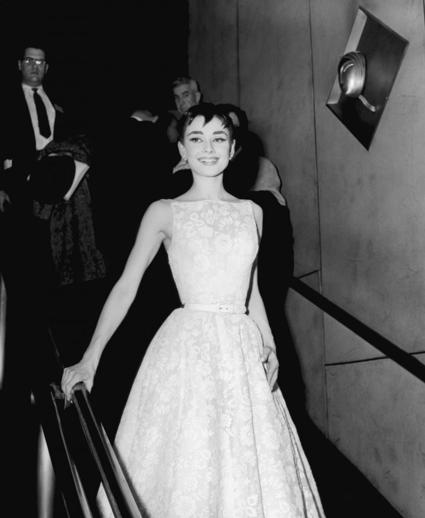 26TH ANNUAL ACADEMY AWARDS -- Pictured: Actress Audrey Hepburn, wearing a Givenchy gown, at the 26th Annual Academy Awards at the NBC Century Theatre in New York City, on March 25, 1954 (Photo by NBC/NBCU Photo Bank via Getty Images)