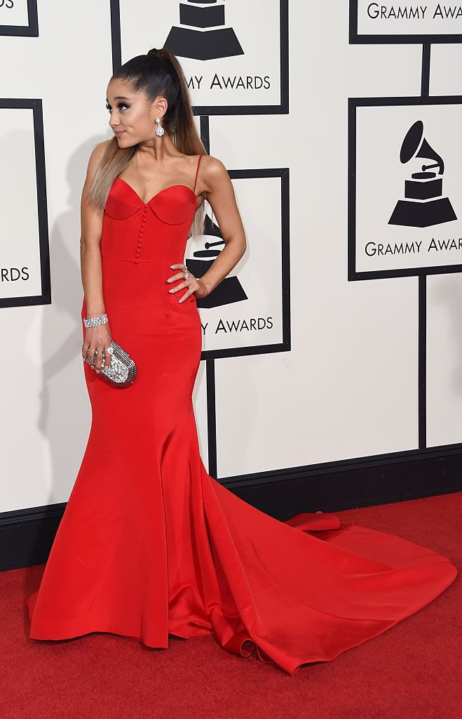 Singer Ariana Grande arrives on the red carpet during the 58th Annual Grammy Music Awards in Los Angeles February 15, 2016. AFP PHOTO/ Valerie MACON / AFP / VALERIE MACON (Photo credit should read VALERIE MACON/AFP/Getty Images)