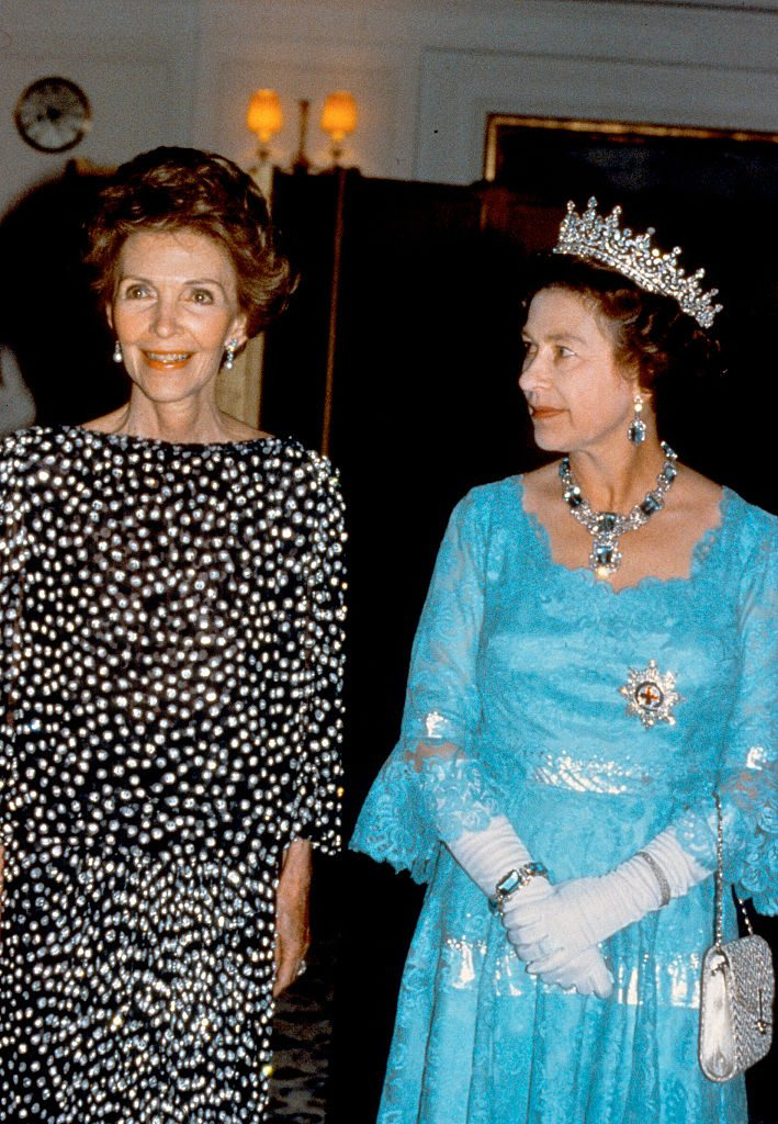 SAN FRANCISCO, USA - MARCH 04: Queen Elizabeth ll entertains US First Lady Nancy Reagan on the Royal Yacht Britannia on March 4, 1983 in San Francisco, USA. (Photo by Anwar Hussein/Getty Images)