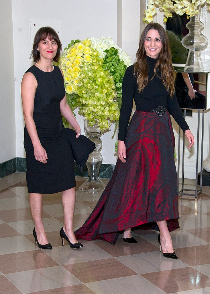 WASHINGTON, DC - MARCH 10: Singer Sara Bareilles, right, and Jennifer Bareilles arrive arrive for the State Dinner in honor of Prime Minister Trudeau and First Lady Sophie Trudeau of Canada at the White House March 10, 2016 in Washington, DC. Hosted by President and First Lady Obama, the dinner is in honor of Prime Minister Justin Trudeau and Sophie Gregoire Trudeau of Canada. (Photo by Ron Sachs-Pool/Getty Images)
