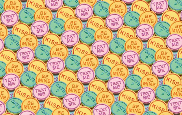 assortment of sweets with love and romance message