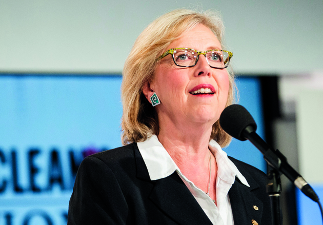 Green Party leader Elizabeth May speaks to reporters during a press conference following the first federal leaders debate of the 2015 Canadian election campaign in Toronto, August 6, 2015. Canadians are set to go to the polls on October 19, 2015. AFP PHOTO / GEOFF ROBINS (Photo credit should read GEOFF ROBINS/AFP/Getty Images)