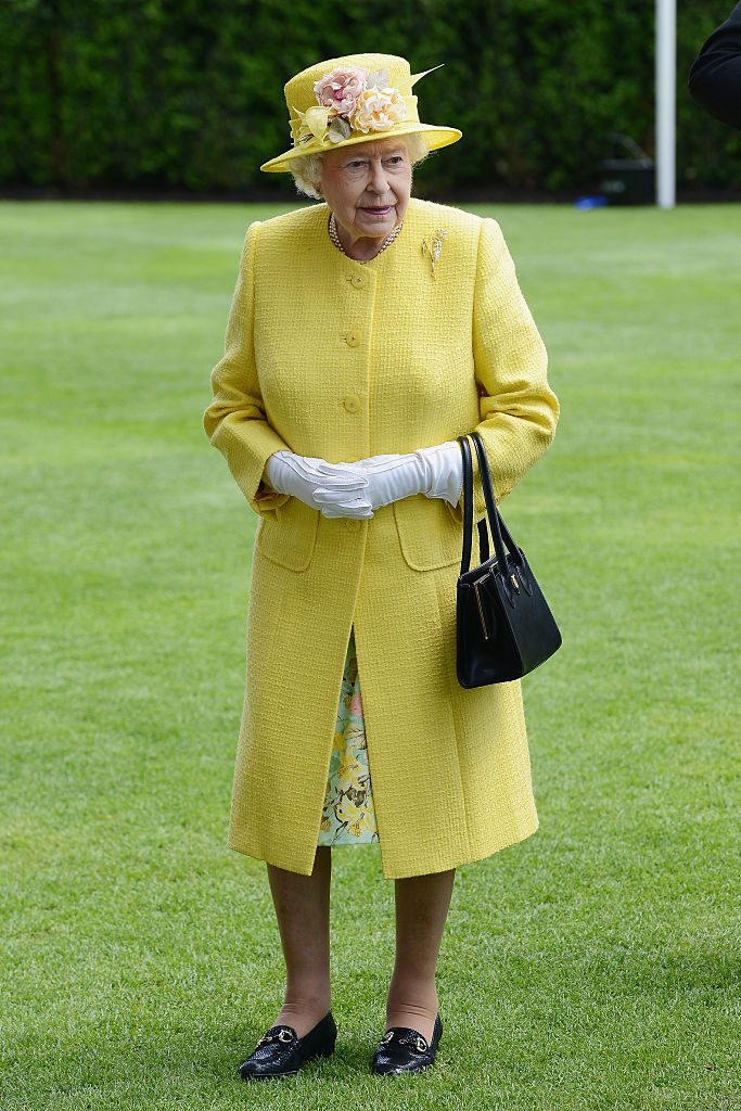 ASCOT, ENGLAND - JUNE 19: Queen Elizabeth II in the Parade Ring as she attends Royal Ascot 2015 at Ascot racecourse on June 19, 2015 in Ascot, England. (Photo by Kirstin Sinclair/Getty Images for Ascot Racecourse)
