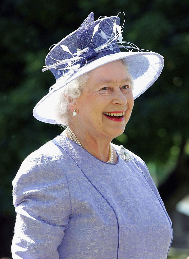 WINCHESTER, ENGLAND - JULY 12: (NO UK SALES FOR 28 DAYS) HM Queen Elizabeth II, The Queen, attends the 250th anniversary celebrations of one of the British Army's most famous regiments, the King's Royal Rifles Corps or 60th Rifles, which is now the present day Royal Green Jackets, July 12, 2005 in Winchester, England. (Photo by POOL/Tim Graham Picture Library/Getty Images)