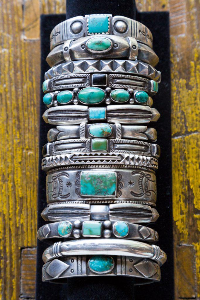 Close-up of Navajo bracelets, Santa Fe, New Mexico, USA