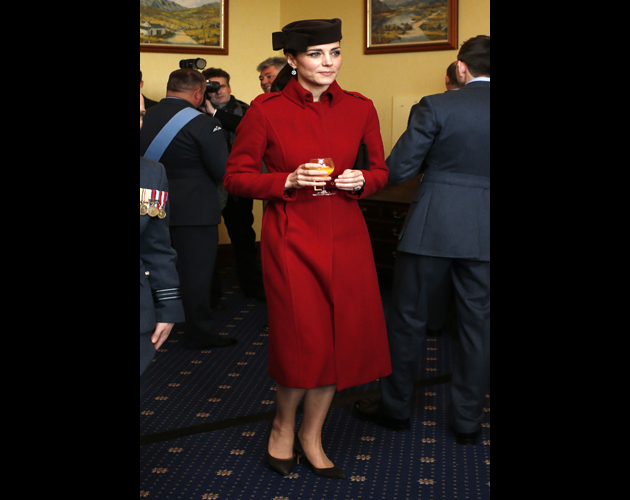 ANGLESEY, WALES - FEBRUARY 18: Catherine, Duchess of Cambridge attends a reception following the ceremony marking the end of RAF Search and Rescue (SAR) Force operations during a visit to RAF Valley on February 18, 2016 in Anglesey, Wales. (Photo by Peter Byrne - WPA Pool/Getty Images)