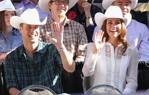CALGARY, AB - JULY 08:  Catherine, Duchess of Cambridge and Prince William, Duke of Cambridge wave as they attend the Calgary Stampede on July 8, 2011 in Calgary, Canada. The newly married Royal Couple are on the ninth day of their first joint overseas tour. The 12 day visit to North America is taking in some of the more remote areas of the country such as Prince Edward Island, Yellowknife and Calgary. The Royal couple started off their tour by joining millions of Canadians in taking part in Canada Day celebrations which mark Canada's 144th Birthday.  (Photo by Chris Jackson/Getty Images)