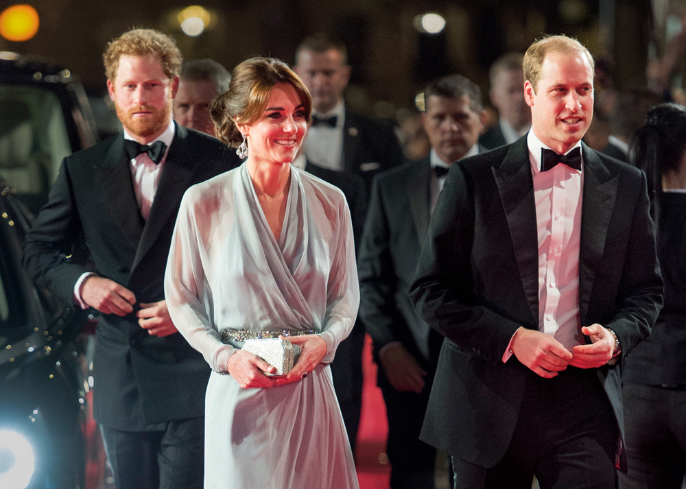"LONDON, ENGLAND - OCTOBER 26: Prince Harry with Prince William, Duke of Cambridge and Catherine, Duchess of Cambridge attend the Royal Film Performance of ""Spectre"" at Royal Albert Hall on October 26, 2015 in London, England. (Photo by Mark Cuthbert/UK Press via Getty Images)"