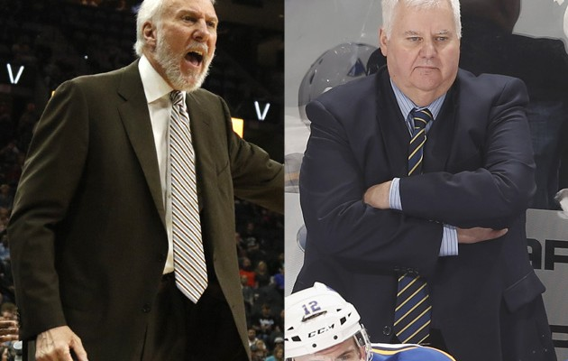 Gregg Popovich, 67, of the NBA's San Antonio Spurs and Ken Hitchcock, 64, of the St. Louis Blues are two of sports most successful coaches