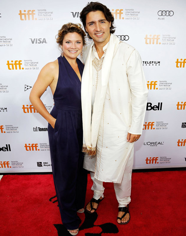"TORONTO, ON - SEPTEMBER 09: Sophie Gregoire and Justin Trudeau arrive at the ""Midnight's Children"" Premiere at the 2012 Toronto International Film Festival at Roy Thomson Hall on September 9, 2012 in Toronto, Canada. (Photo by Jemal Countess/Getty Images)"