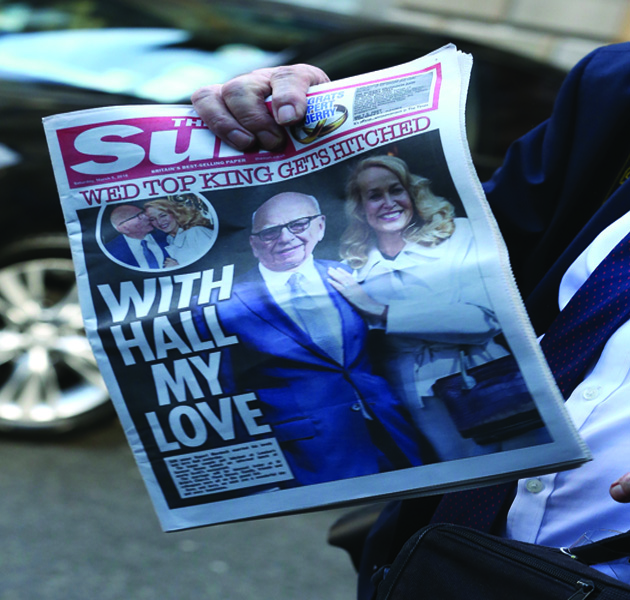 LONDON, ENGLAND - MARCH 05: A general view of the special edition of the Sun news paper given to guests at Jerry Hall and Rupert Murdoch wedding reception at Spencer House on March 5, 2016 in London, England. (Photo by Danny Martindale/GC Images)