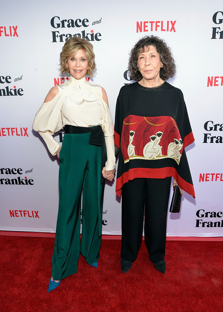 "LOS ANGELES, CA - MAY 01: Actors Jane Fonda (L) and Lily Tomlin attend the premiere of Season 2 of the Netflix Original Series ""Grace & Frankie"" at Harmony Gold on May 1, 2016 in Los Angeles, California. (Photo by Michael Tullberg/Getty Images)"