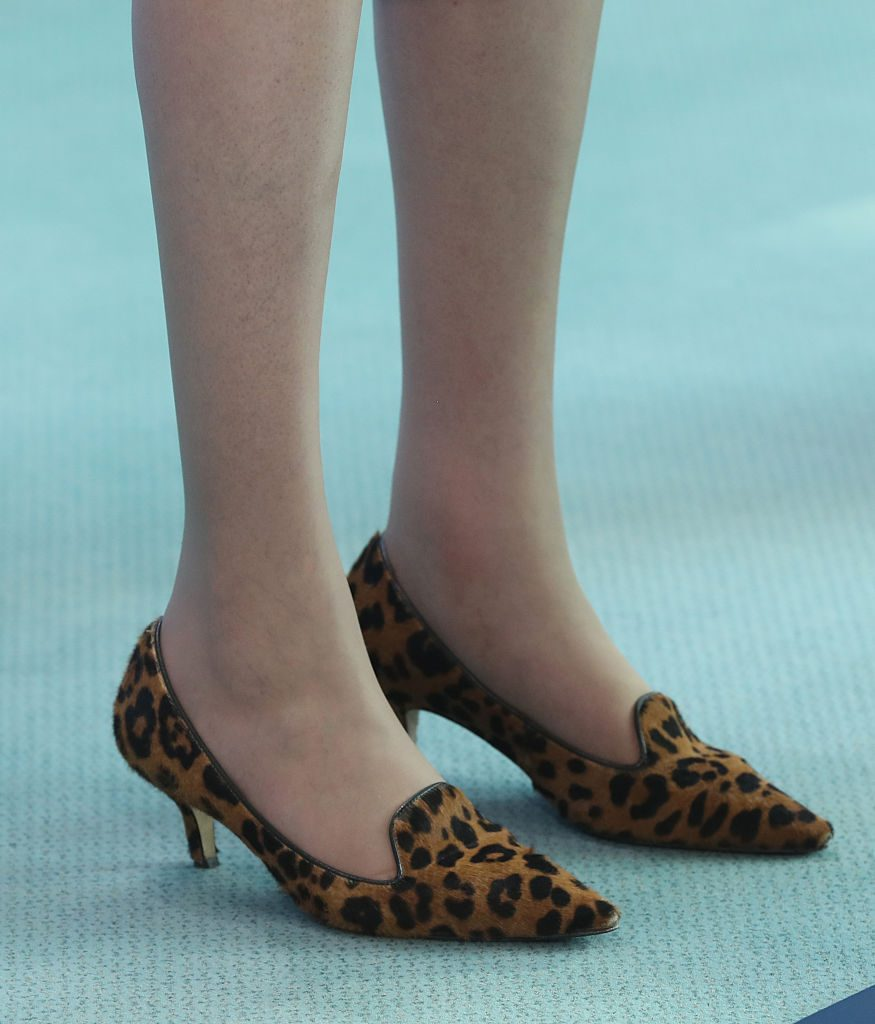 BERLIN, GERMANY - JULY 20: British Prime Minister Theresa May wears leopard-patterned shoes as she and German Chancellor Angela Merkel (not pictured) speak to the media following talks at the Chancellery on July 20, 2016 in Berlin, Germany. May, who replaced David Cameron as prime minister last week in the wake of the Brexit vote that will take the United Kingdom out of the European Union, is visiting Germany and France in her first foreign trip since assuming office. (Photo by Sean Gallup/Getty Images)