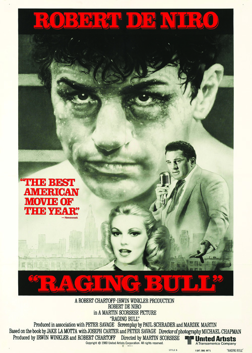 Actor Robert De Niro as Jack LaMotta on a poster for the United Artists boxing movie 'Raging Bull', 1980. (Photo by Movie Poster Image Art/Getty Images)