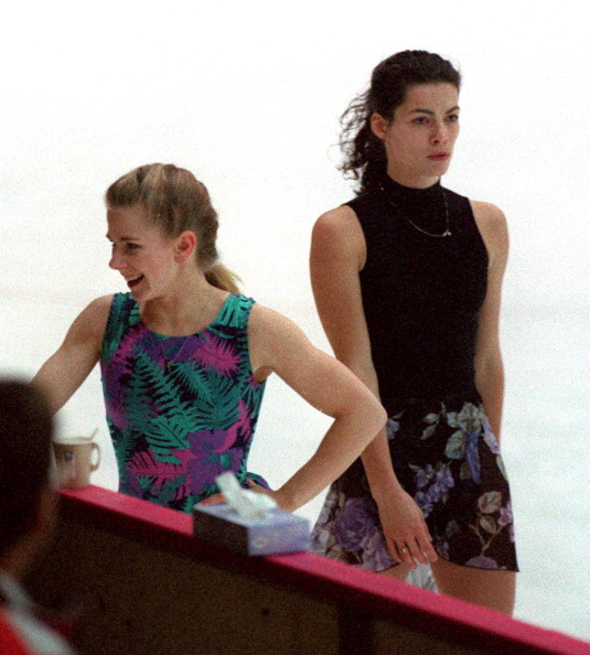 HAMAR - FEBRUARY 16: Tonya Harding is passed by Nancy Kerrigan during their first practice session. (Photo by John Tlumacki/The Boston Globe via Getty Images)