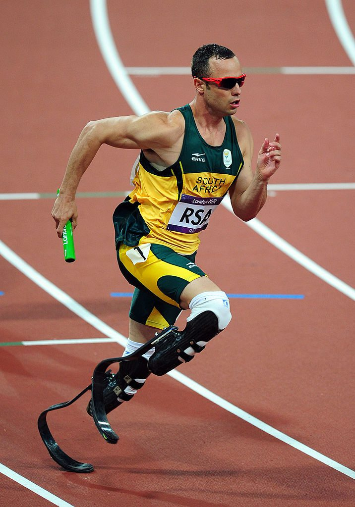 LONDON, ENGLAND - AUGUST 10: Oscar Pistorius of South Africa competes during the Men's 4 x 400m Relay Final on Day 14 of the London 2012 Olympic Games at Olympic Stadium on August 10, 2012 in London, England. (Photo by Stu Forster/Getty Images)