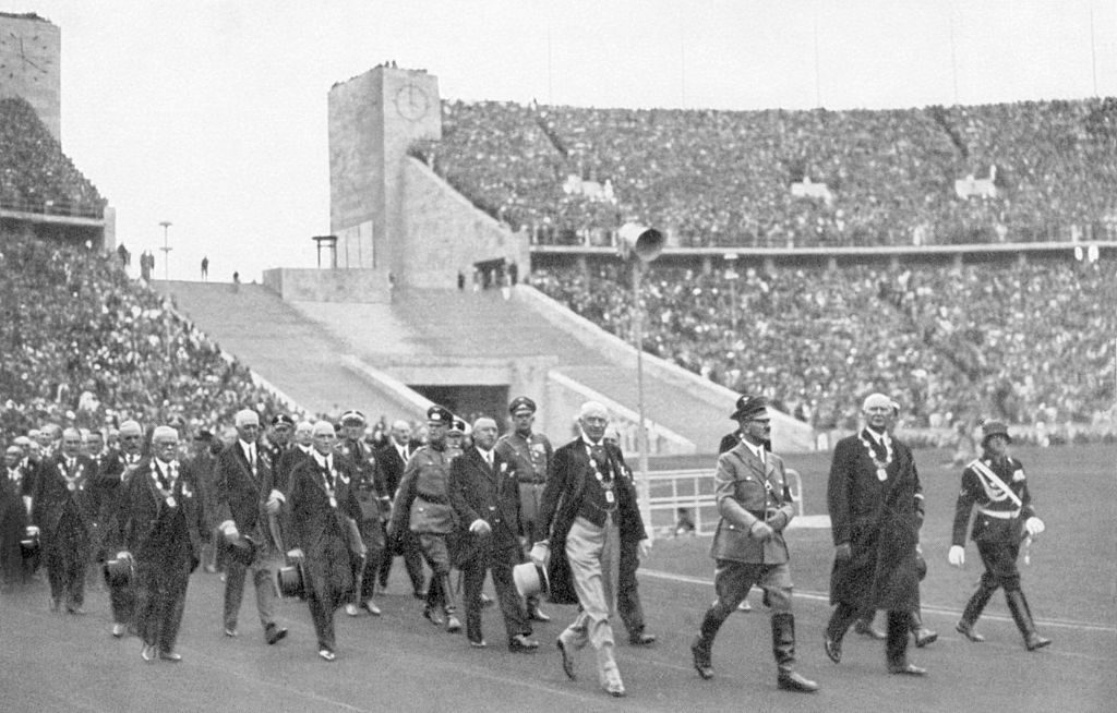 Berlin Olympics - 1936, Adolf Hitler, the Führer and Patron of the Games, in the Stadium with the leaders of world sport. (Photo by Past Pix/SSPL/Getty Images)