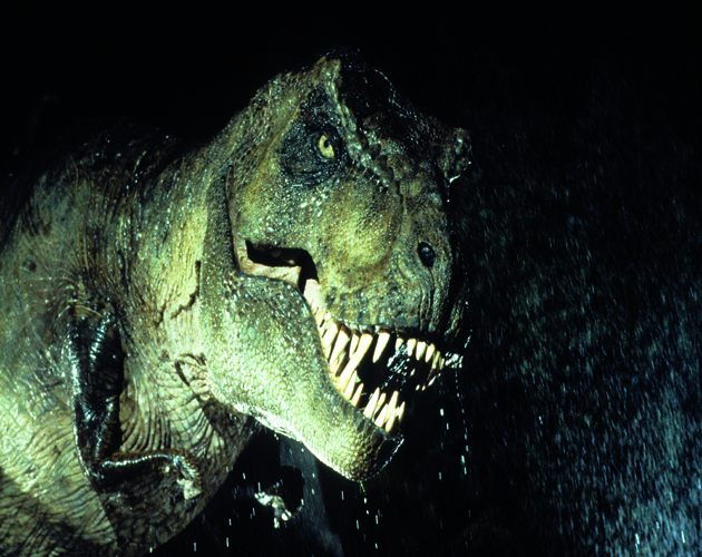 A t-rex in a scene from the film 'Jurassic Park', 1993. (Photo by Universal/Getty Images)