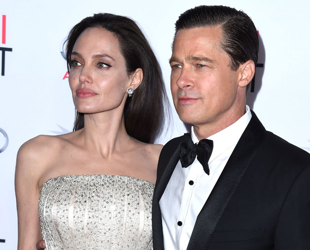"HOLLYWOOD, CA - NOVEMBER 05: Angelina Jolie Pitt and Brad Pitt arrives at the AFI FEST 2015 Presented By Audi Opening Night Gala Premiere Of Universal Pictures' ""By The Sea"" at TCL Chinese 6 Theatres on November 5, 2015 in Hollywood, California. (Photo by Steve Granitz/WireImage)"