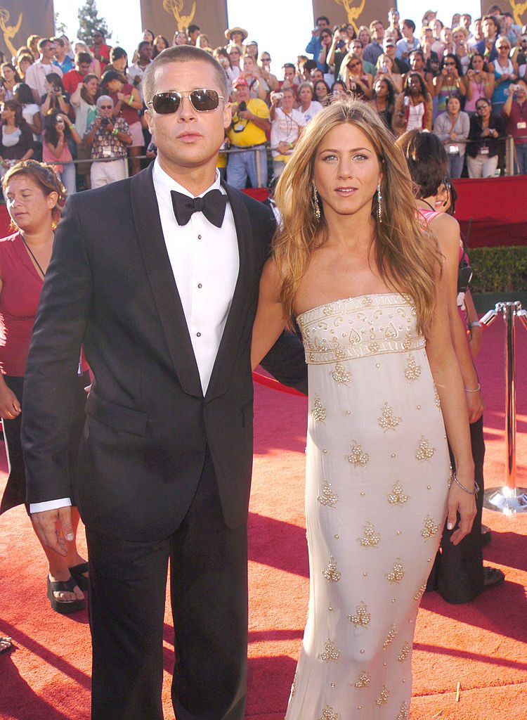 Brad Pitt and Jennifer Aniston during The 56th Annual Primetime Emmy Awards - Red Carpet at The Shrine Auditorium in Los Angeles, California, United States. (Photo by George Pimentel/WireImage)