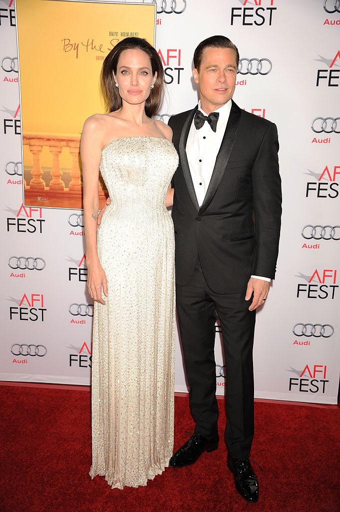 """Actors Angelina Jolie and Brad Pitt arrive at the premiere of """"By the Sea"""" at the opening night of AFI FEST 2015 held at TCL Chinese Theater in Hollywood."""