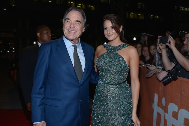 """TORONTO, ON - SEPTEMBER 09: Director Oliver Stone (L) and actress Shailene Woodley attend the """"Snowden"""" premiere during the 2016 Toronto International Film Festival at Roy Thomson Hall on September 9, 2016 in Toronto, Canada. (Photo by GP Images/WireImage)"""