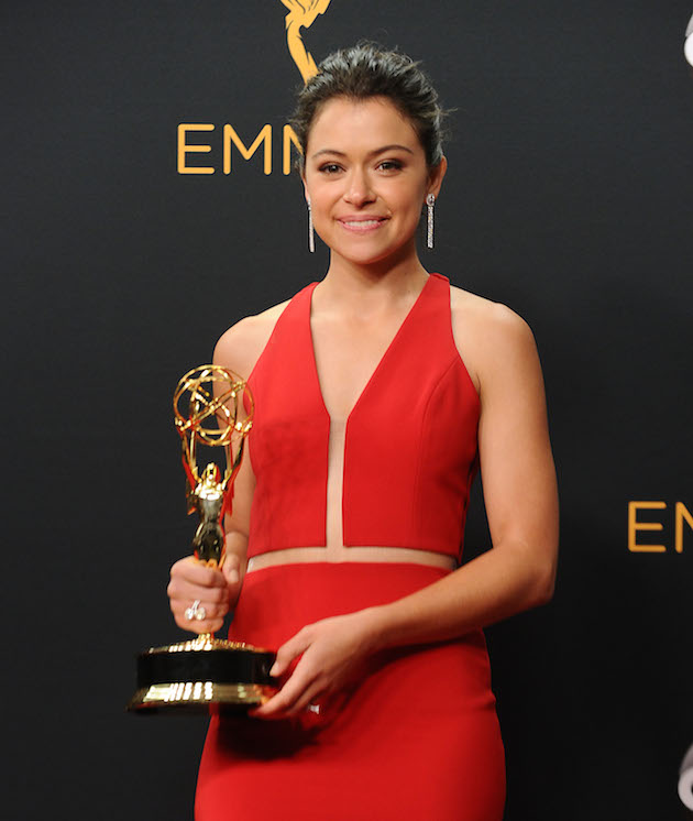 LOS ANGELES, CA - SEPTEMBER 18: Actress Tatiana Maslany poses in the press room at the 68th annual Primetime Emmy Awards at Microsoft Theater on September 18, 2016 in Los Angeles, California. (Photo by Jason LaVeris/FilmMagic)