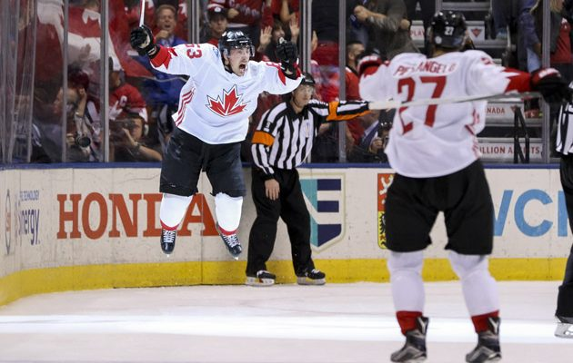 TORONTO, ON - SEPTEMBER 29: Brad Marchand #63 of Team Canada celebrates after scoring a third period goal against Team Europe during Game Two of the World Cup of Hockey final series at the Air Canada Centre on September 29, 2016 in Toronto, Canada. Team Canada defeated Team Europe 2-1. (Photo by Chris Tanouye/Getty Images)