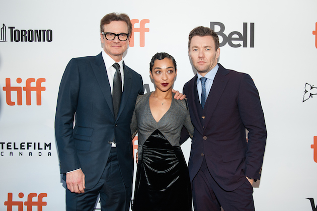 "TORONTO, ON - SEPTEMBER 11: (L-R) Producer Colin Firth with Actors Ruth Negga and Joel Edgerton attend the premiere of ""Loving"" during the 2016 Toronto International Film Festival at Roy Thomson Hall on September 11, 2016 in Toronto, Canada. (Photo by Che Rosales/Getty Images)"