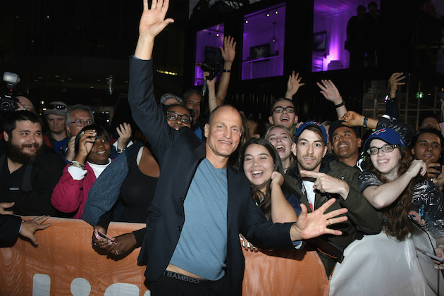TORONTO, ON - SEPTEMBER 17: Actor Woody Harrelson poses with fans at 'The Edge Of Seventeen' premiere during the 2016 Toronto International Film Festival at Roy Thomson Hall on September 17, 2016 in Toronto, Canada. (Photo by George Pimentel/WireImage)
