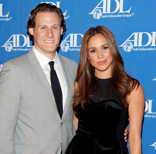 BEVERLY HILLS, CA - OCTOBER 11: Actress Meghan Markle (R) and her husband Trevor Engelson arrive at the Anti-Defamation League Entertainment Industry Awards Dinner at the Beverly Hilton on October 11, 2011 in Beverly Hills, California. (Photo by Amanda Edwards/Getty Images)