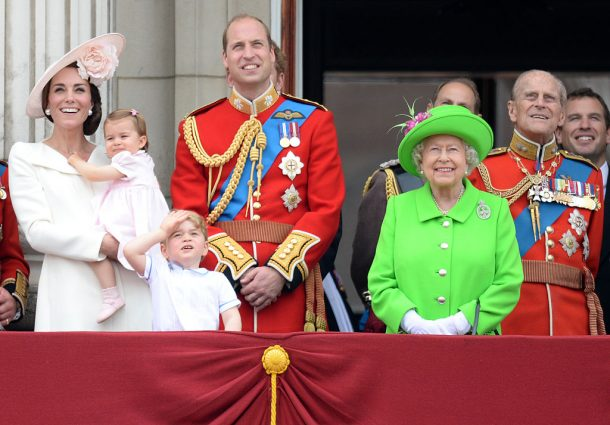 Catherine, Duchess of Cambridge, Princess Charlotte of Cambridge, Prince George of Cambridge, Prince William, Duke of Cambridge, Queen Elizabeth II and Prince Philip, The Duke of Edinburgh during the Trooping the Colour, this year marking the Queen's official 90th birthday at The Mall on June 11, 2016 in London, England. The ceremony is Queen Elizabeth II's annual birthday parade and dates back to the time of Charles II in the 17th Century when the Colours of a regiment were used as a rallying point in battle.