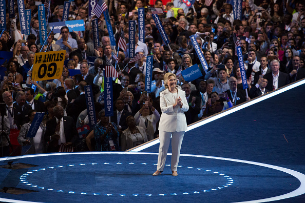 Philadelphia, PA On Wednesday, July 27, in the Wells Fargo Center, Hillary Clinton takes it all in, after giving her nomination acceptance speech on the last day of the Democratic National Convention. (Photo by Cheriss May/NurPhoto via Getty Images)